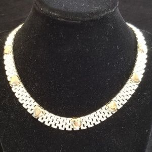 Jewelry - 925 Italy Sterling Choker Necklace w/ Gold Hearts